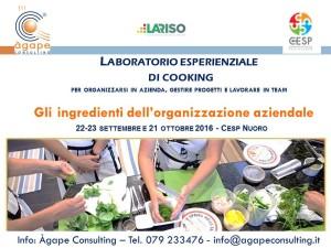 Locandina laboratorio esperienziale di cooking sull'organizzazione aziendale